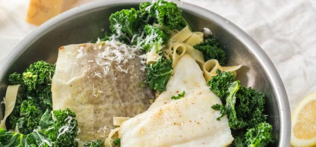 receta de fetuccini con kale y bacalao