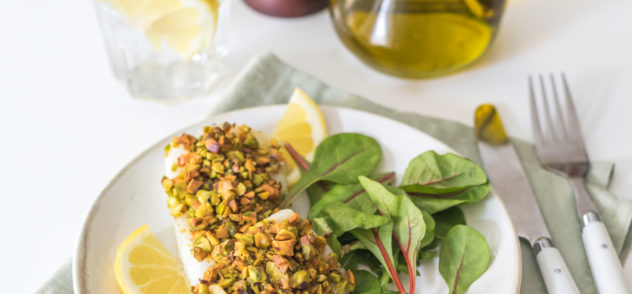 Lomos de bacalao con costra de pistacho